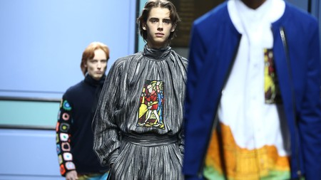Models present creations at the J.W. Anderson catwalk show during London Fashion Week
