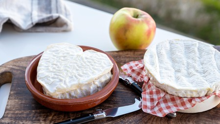 Heart-shaped neufchatel and round camembert are typical Normandy cheeses