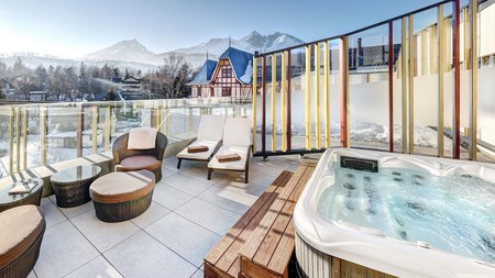 Enjoy mountain views from the rooftop after a day of hitting the slopes in the Tatras Mountains
