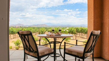 Take in the vineyard views at Carter Estate Winery and Resort or one of the other wineries with accommodation in Temecula