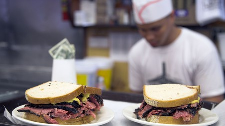 Hungry in New York City? Order a pastrami sandwich at Katz's Delicatessen