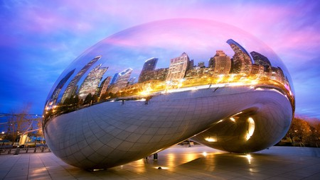 The Cloud Gate sculpture, also known as The Bean, has become a famous Chicago monument