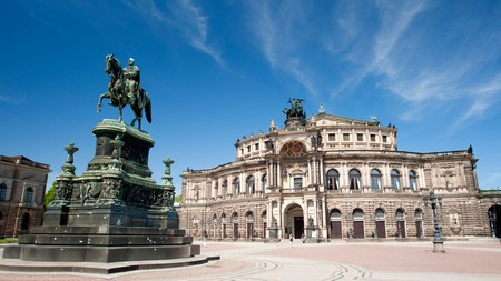 The magnificent Semperoper Opera House in Dresden, Germany