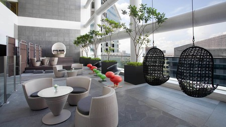 The terrace and patio area looking onto Singapore's tech park