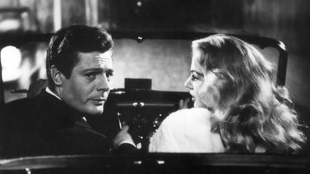"""The """"sweet life"""" gets a Roman makeover in Fellini's movie classic, La Dolce Vita (1960), starring Marcello Mastroianni and Anita Ekberg"""