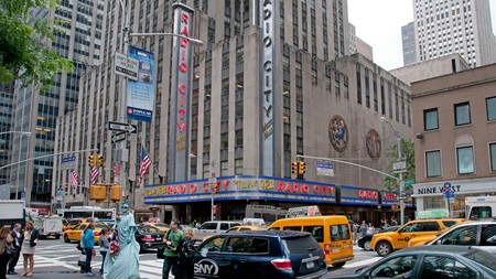 Inside Radio City Music Hall you'll find an interior featuring art deco ornaments and fixtures