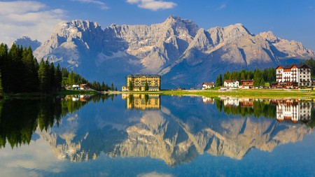 An arresting view of the Dolomites from Antorno Lake in the Cadore region of Italy.