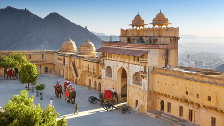 View of the Jaleb Chowk courtyard and main gate of Amer Fort – the most popular filming location in Jaipur
