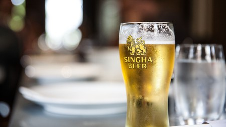 Singha is Thailand's most popular beer, a chilled thirst-quencher you'll find in pretty well every bar and restaurant across the country
