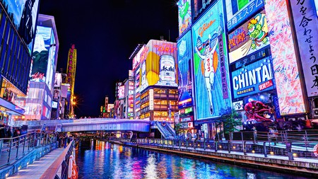 The neon-lit Dotonbori district in Osaka is home to the Glico Running Man