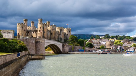 View of Conwy Castle and harbour, Conwy, North Wales, UK