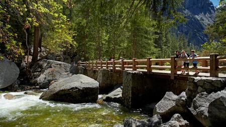 Footbridge across Merced River, on The Mist Trail, Yosemite National Park, California