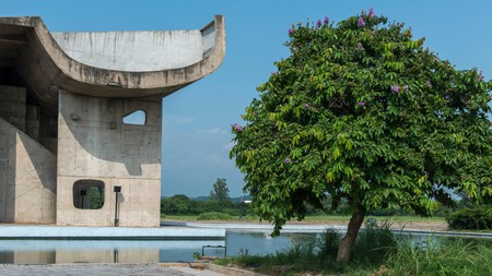 The Palace of Assembly in Chandigarh, India, was designed by Swiss-French architect Le Corbusier