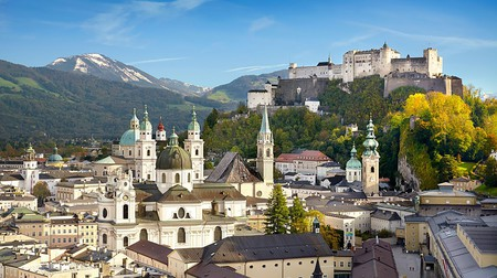 Salzburg Old Town with Fortress Hohensalzburg visible in the background