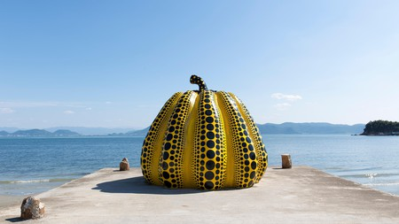You can see Yayoi Kusama's giant pumpkin sculpture in Naoshima