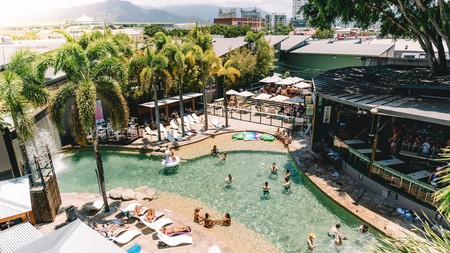 Enjoy a host of hotel-style facilities and three bars at Gilligan's Cairns