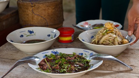 Thai food is delicious, but there are some dishes you'll want to avoid, including those with raw meat and blood