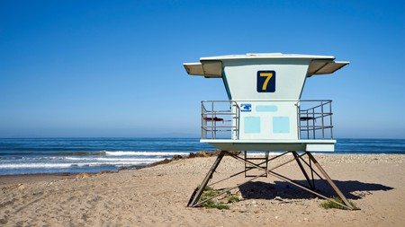 The distinctive lifeguard towers of Ventura Beach have become something of a California icon