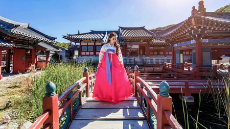 Vibrant colours often characterise Korea's traditional dress, the hanbok