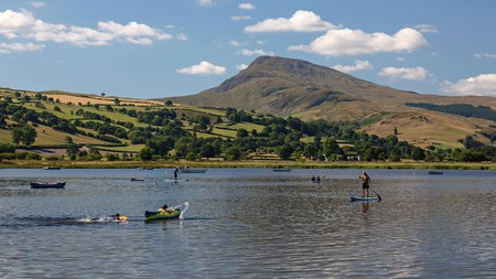 Lake Bala, Llyn Tegid in Welsh, is a popular spot for watersports and wild swimming