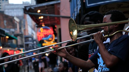Jazz musicians performing in the French Quarter of New Orleans are a common sight