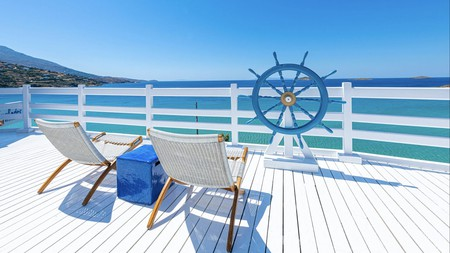 Enjoy spectacular sea views from the terrace of the Hotel Perrakis, Andros