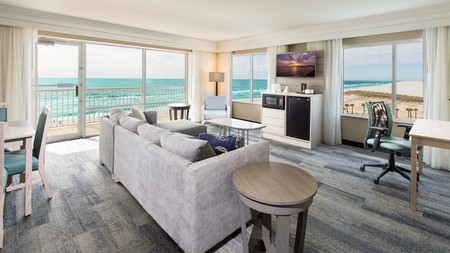An elevator is all that separates your suite from the beach at SpringHill Suites Pensacola Beach