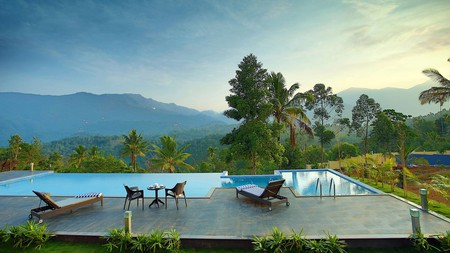 The Leaf Munnar's infinity pool offers a relaxing spot to soak up the verdant scenery
