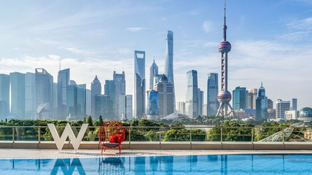 The W Shanghai sits right on the Bund, overlooking the waterfront