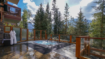 Take a relaxing soak in one of two hot tubs at the Falcon Crest Lodge
