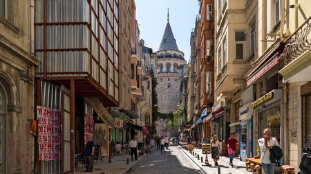 Ancient Galata Tower in the centre of Istanbul, Turkey