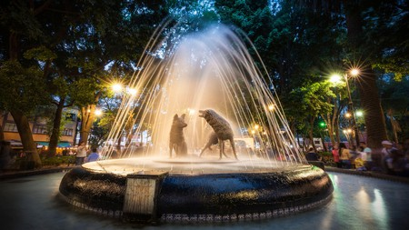 The Fountain of the Coyotes in Coyoacán is one of the best known fountains in Mexico City