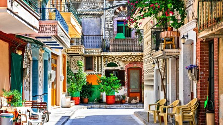Pyrgi, on the island of Chios, is known as the Painted Village, because of the geometric patterns on the façades of the houses