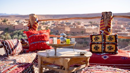 Drinking a glass of mint tea on a rooftop terrace is a quintessential Morocco experience