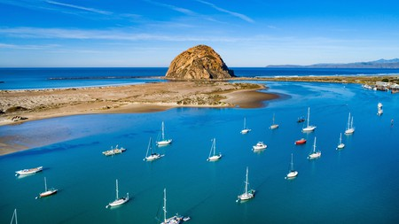 Morro Rock dominates the landscape in the laid-back Californian town of Morro Bay