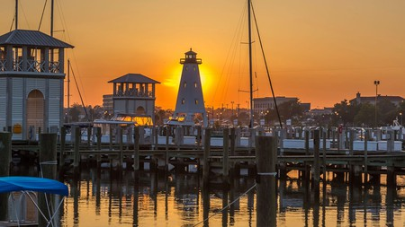 The Small Craft Harbor in Gulfport, Mississippi, is a great place to watch the sunset