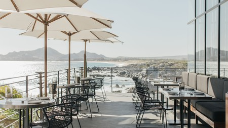 Outdoor dining at Manta at the Cape comes with spectacular ocean views