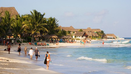 Mamitas is a lively beach in Playa del Carmen where many music festivals take place every year