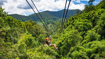 Ziplining is a quintessential adventure activity in the Chiang Mai area