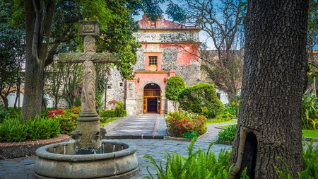 The Church of San Jacinto is where you'll find one of the first crosses made in Mexico
