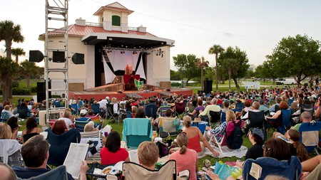 Crowds gather to enjoy the the annual outdoor Palm Beach Shakespeare Festival; 2021's magical programme features 'Twelfth Night' and 'A Midsummer Night's Dream'