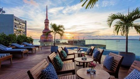 Enjoy incredible rooftop views across All Saints Bay at the Fera Palace Hotel in Salvador, Brazil