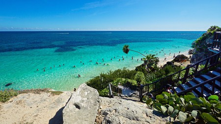 One of the finest beaches in Tulum lies below Mayan ruins