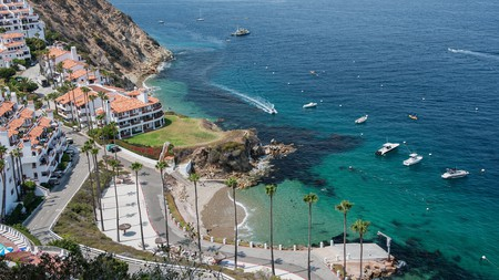 A resort property occupies a remote hillside cove on Catalina Island, California