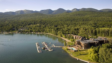 Lodge at Whitefish Lake near Glacier National Park is surrounded by beautiful nature