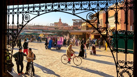 The Djemaa el-Fna square is home to a busy market and plenty of street food stalls