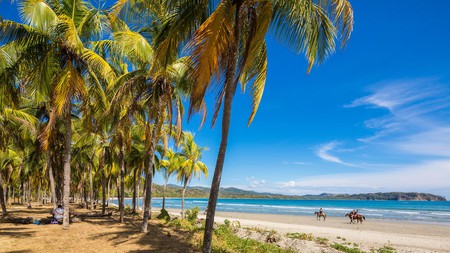 Playa Samara in Costa Rica is a dreamy beach with white sand and palm trees