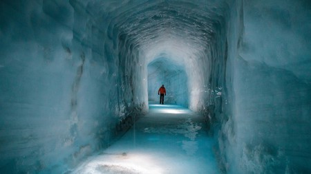 The Langjokull glacier has ice tunnels carved inside it that you can walk through