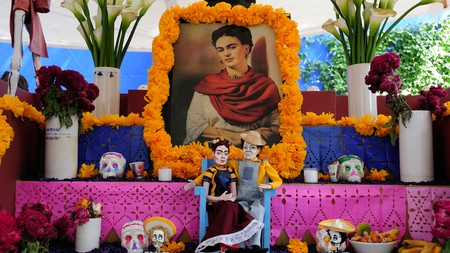 A shrine at the Frida Kahlo Museum pays respect to the artist and her husband, Diego Rivera