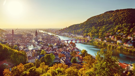View over Heidelberg and the river Neckar